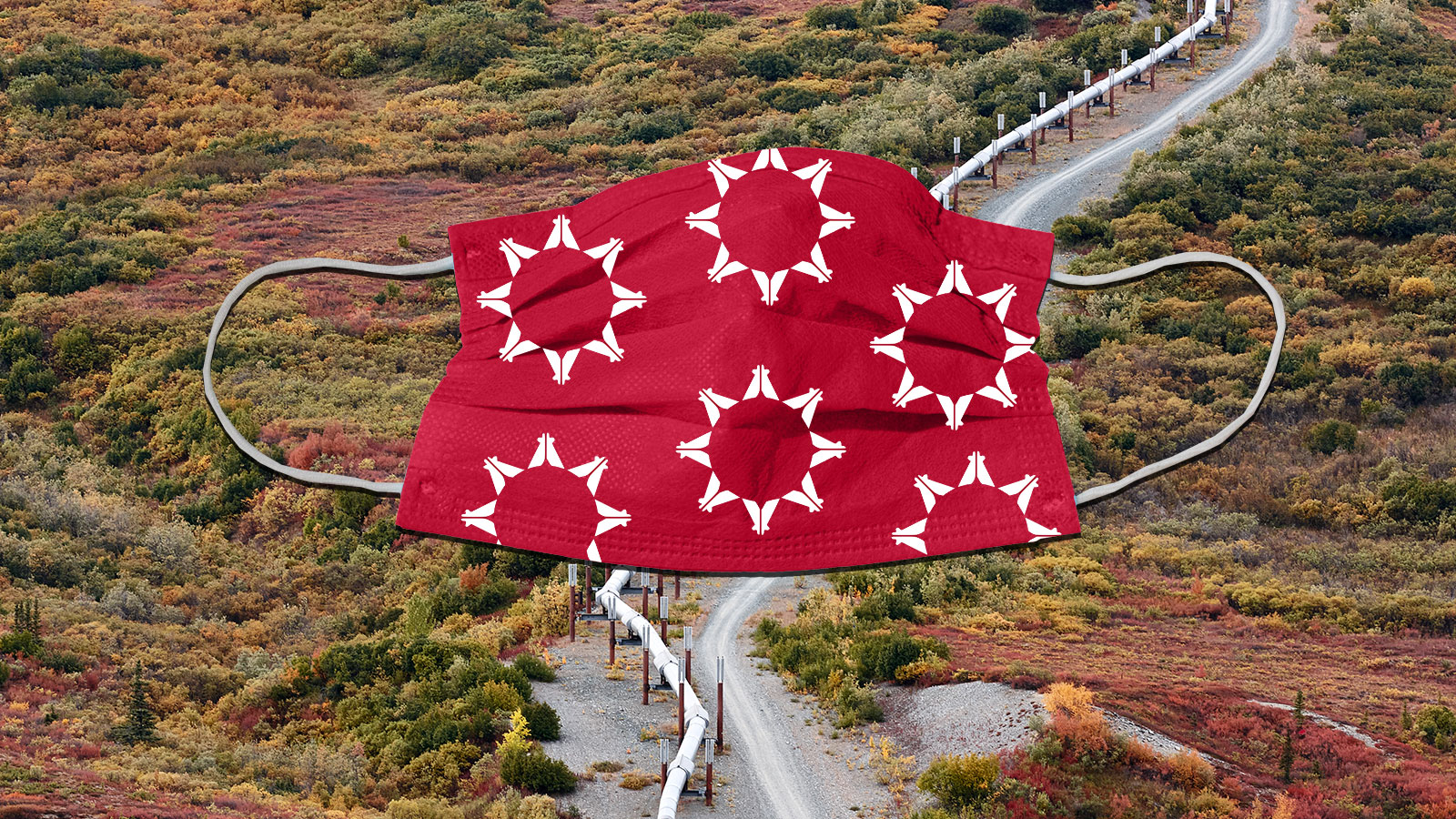 Collage of face mask over tribal lands