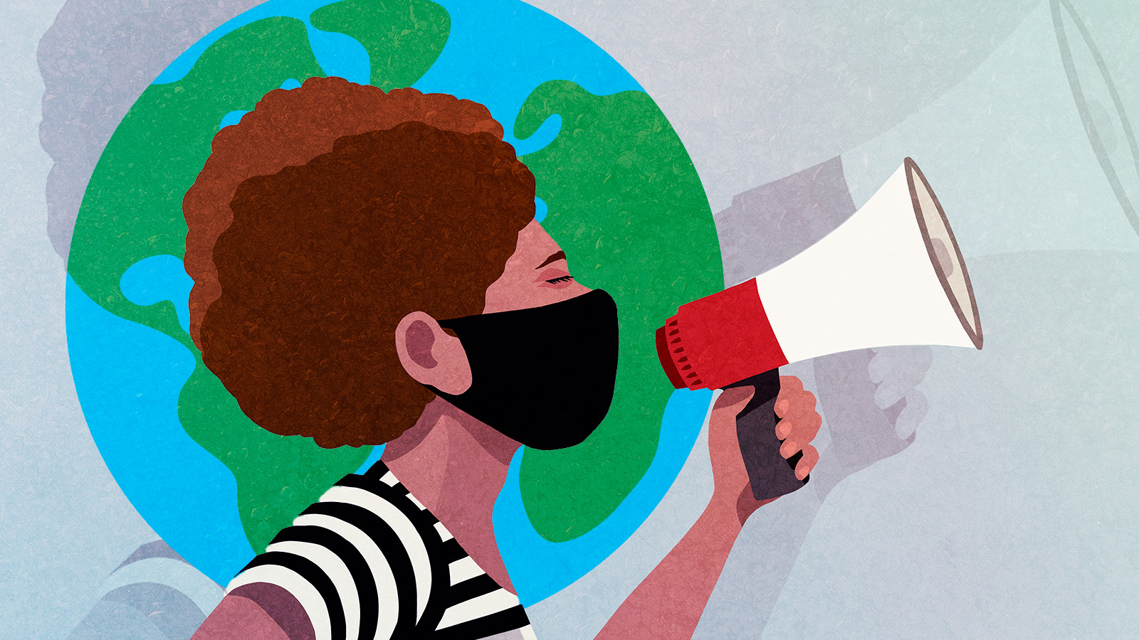 Illustrated female activist with megaphone