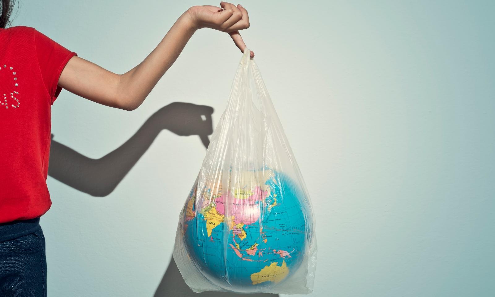 Women holding plastic bag