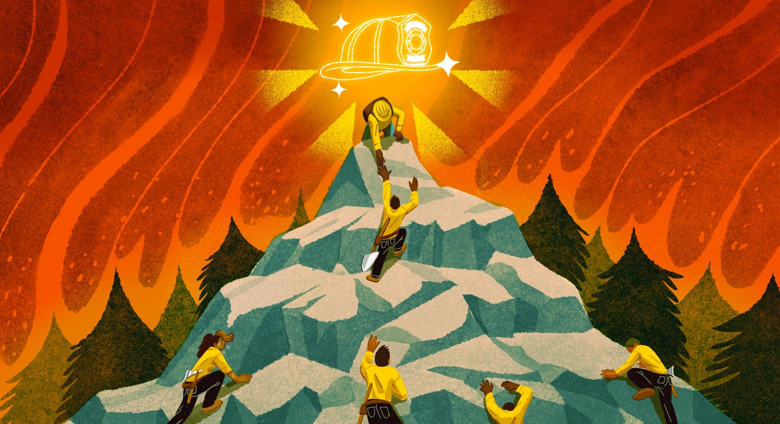 Firefighters climbing a hill illustration
