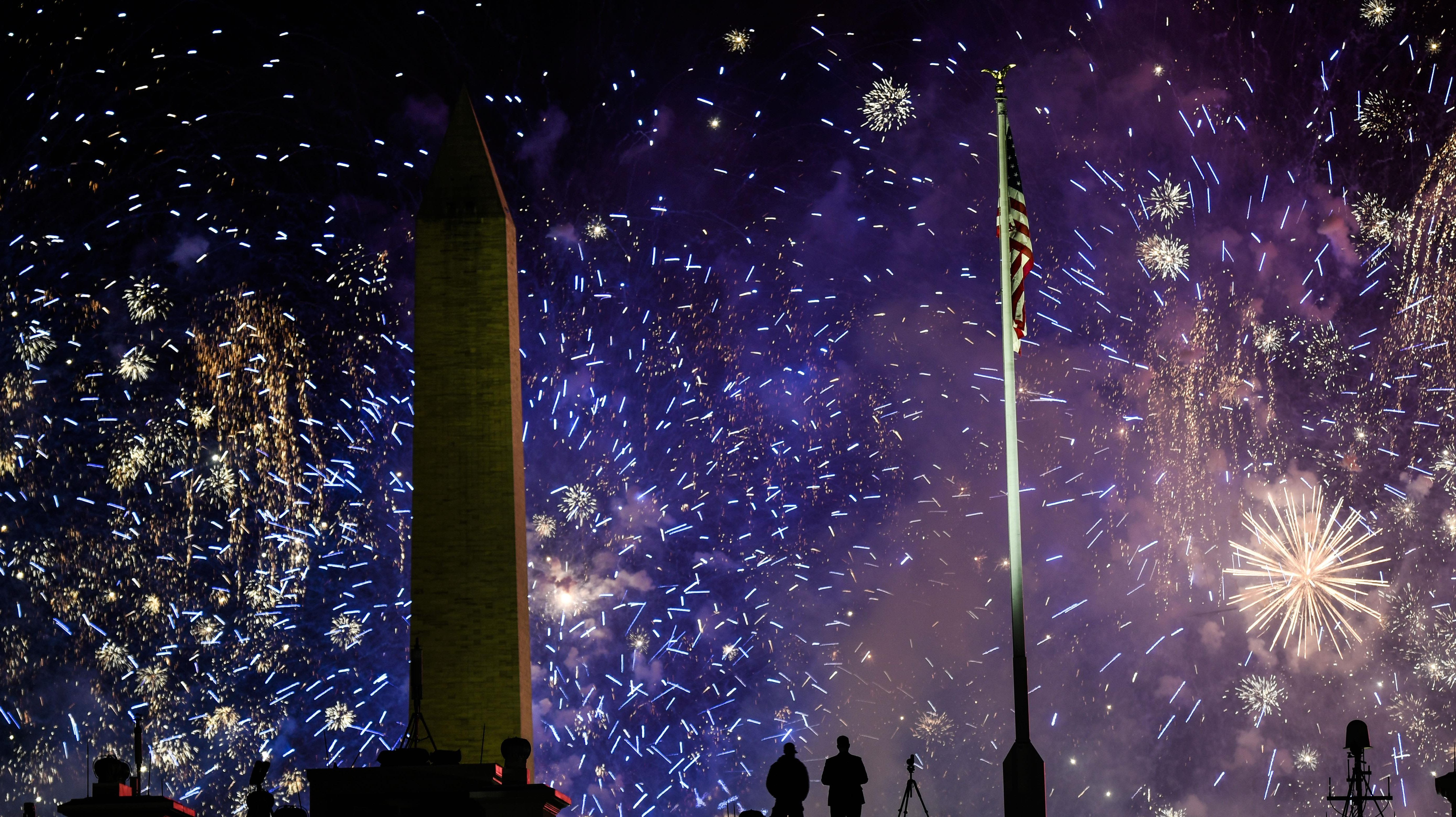 Fireworks above the White House on Joe Biden's Inauguration Day.
