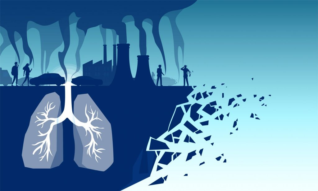 Illustration of polluted lungs