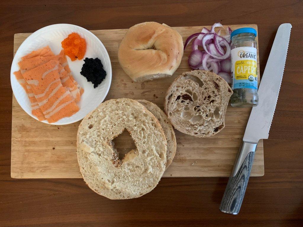 Bagel spread with vegan lox and Cavi-art