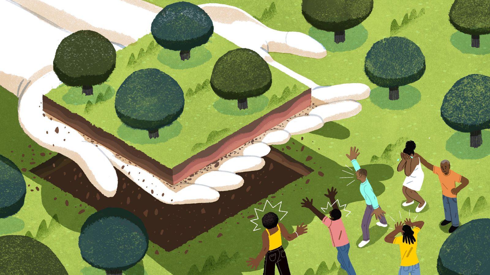 Hands giving back a plot of land illustration
