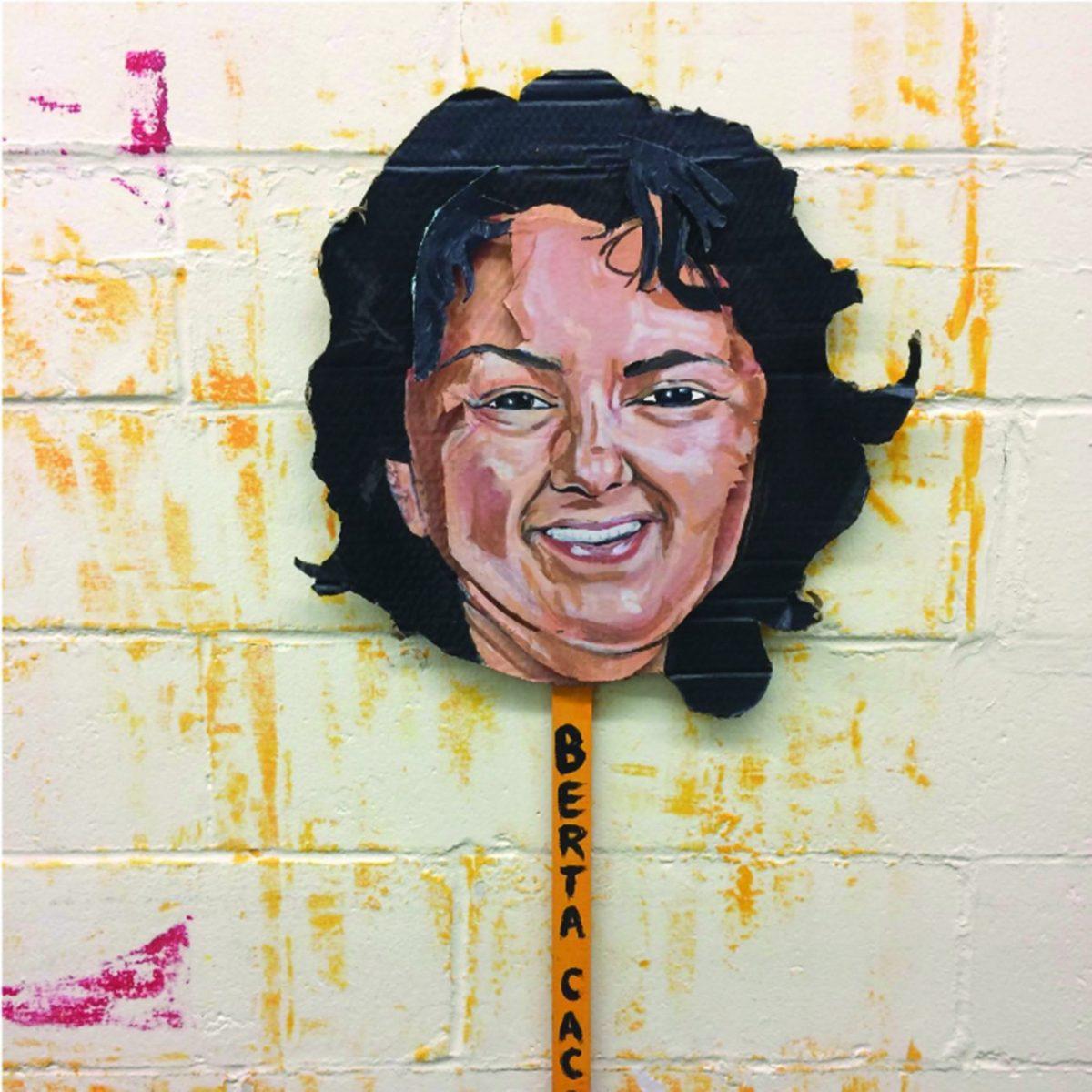 Cardboard rendering of Berta Cáceres