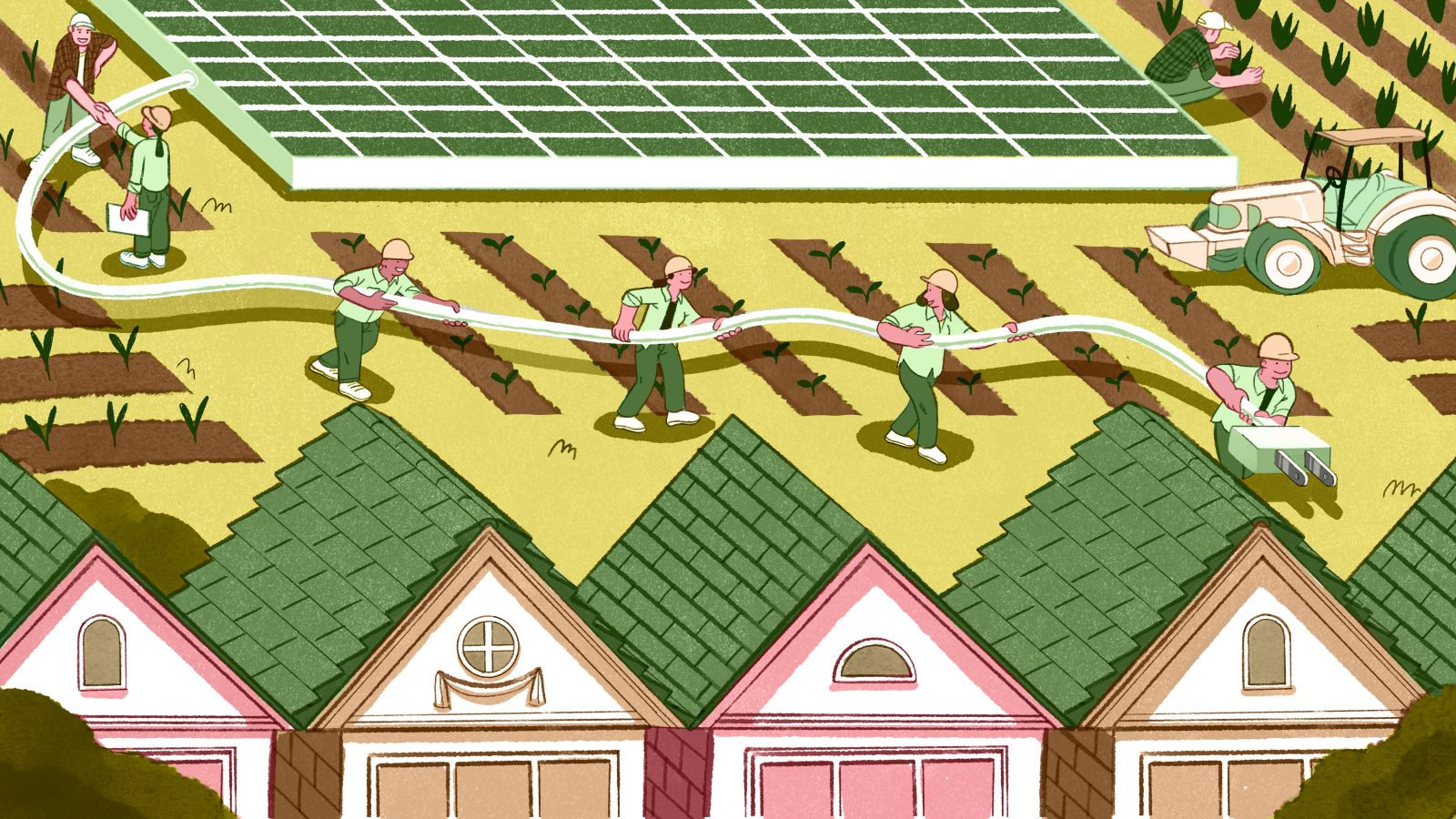 Illustration of solar energy workers