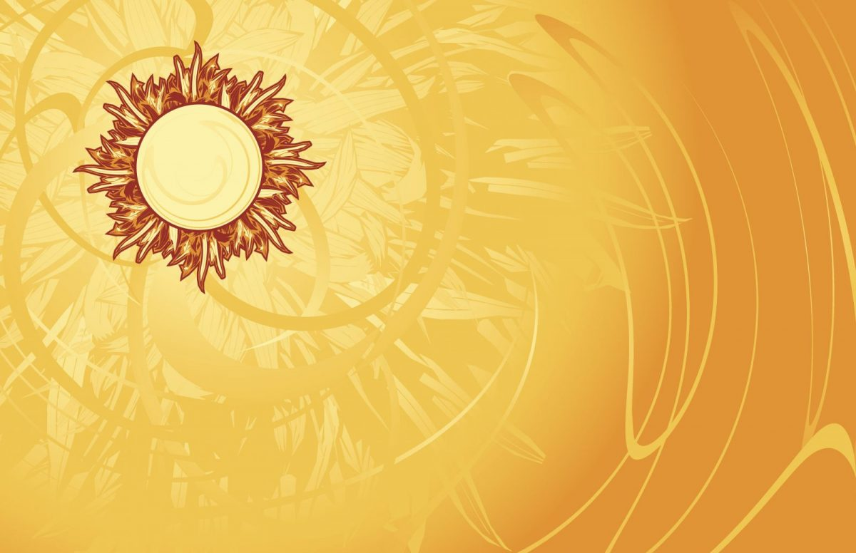 Sun radiating heat on a yellow background