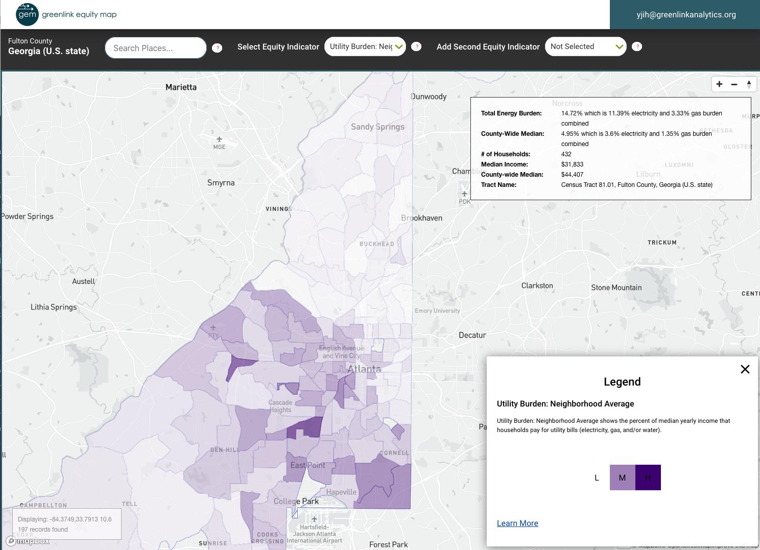 Energy burden across the City of Atlanta