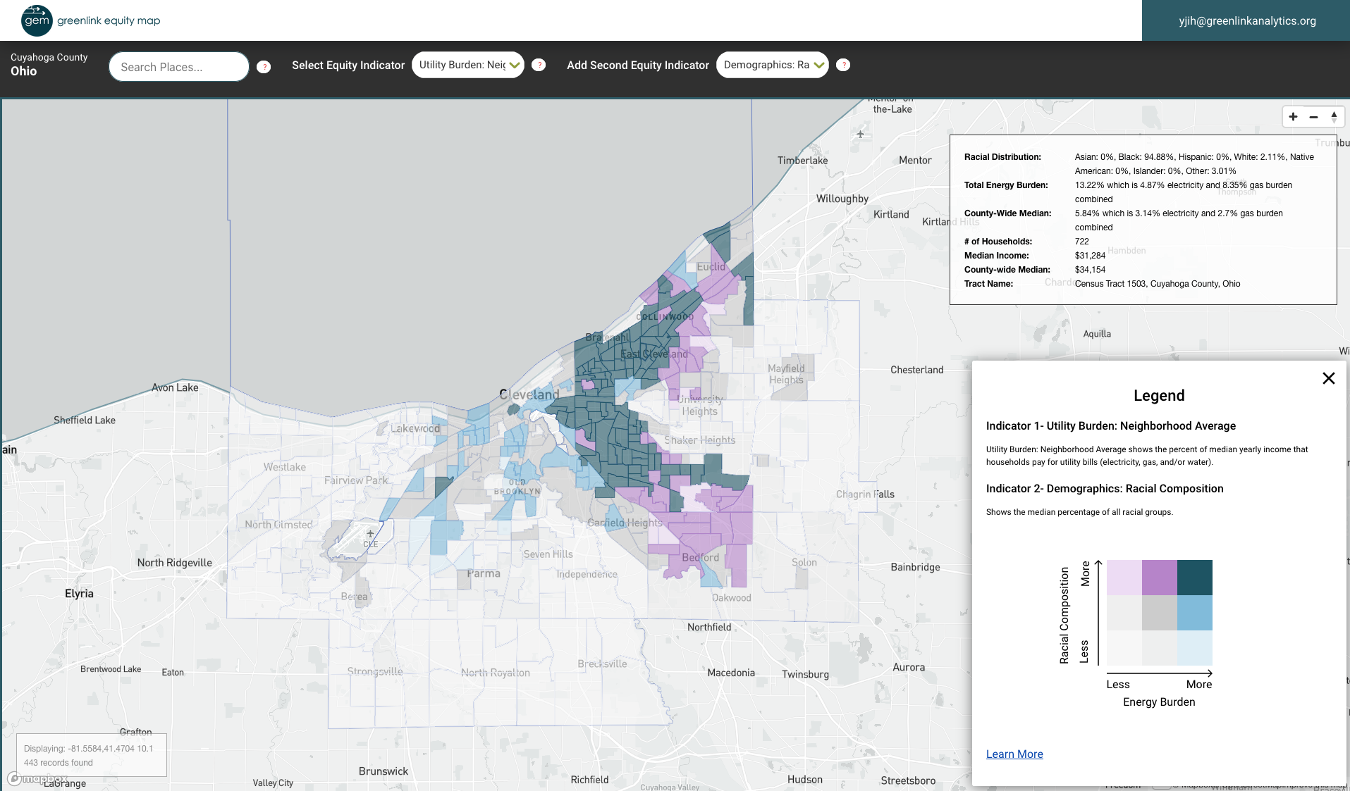 The view of energy burden in predominantly Black communities in Cleveland.