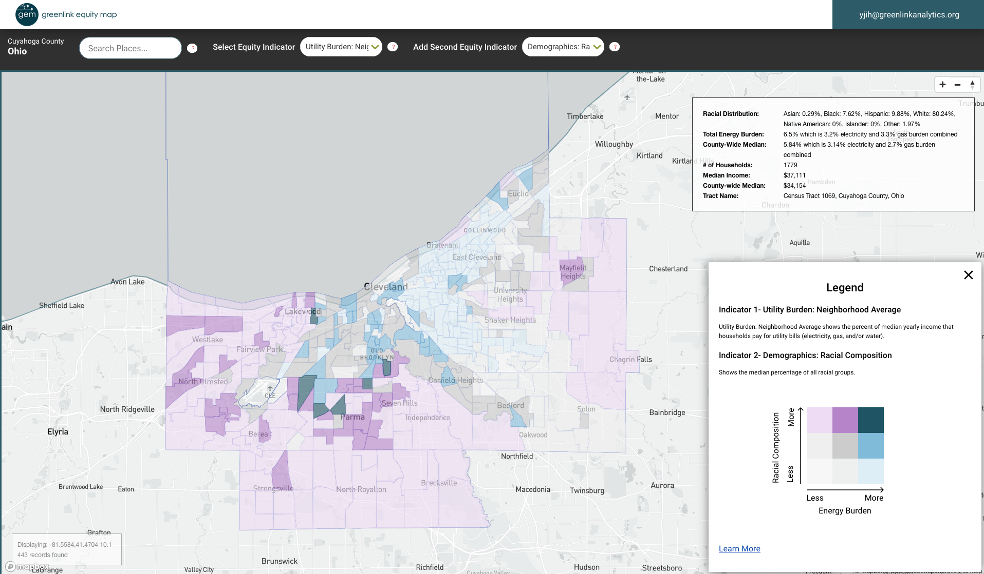 A Greenlink Equity Map showing energy burden in predominantly white communities in Cleveland.