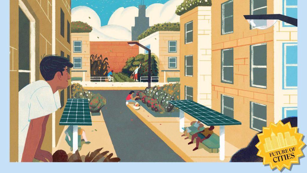 Illustration of a futuristic city block