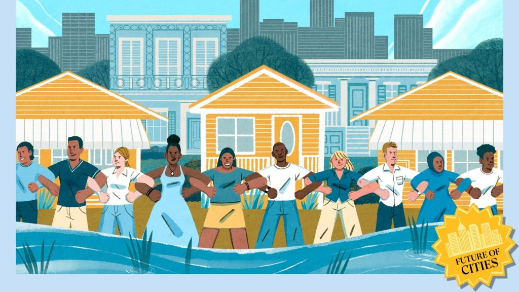 Illustration of coastal residents standing with locked arms, protecting their communities