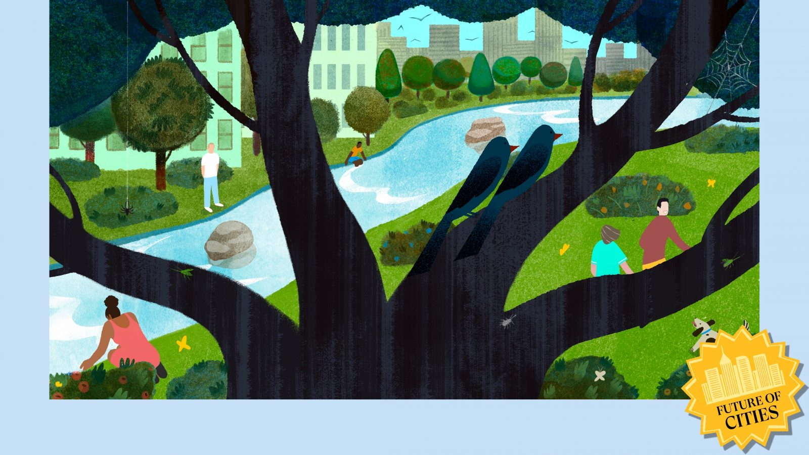 Illustration of a lush, green city park by a river, with a tree in the foreground
