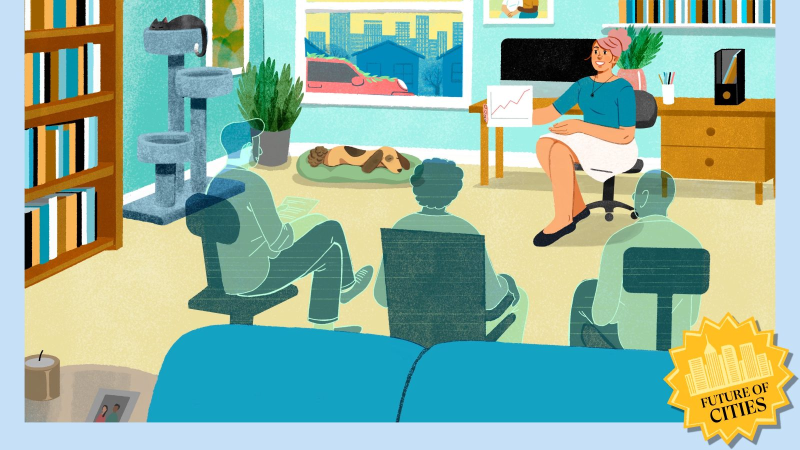 A woman works from home, taking a meeting with three hologram colleagues.