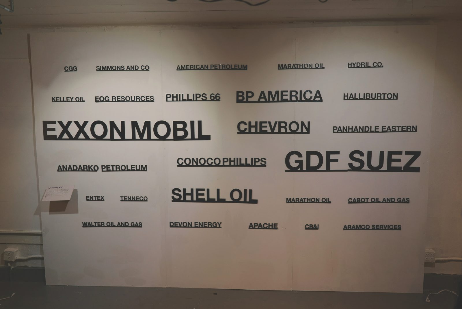 Sponsorship wall at a Houston museum