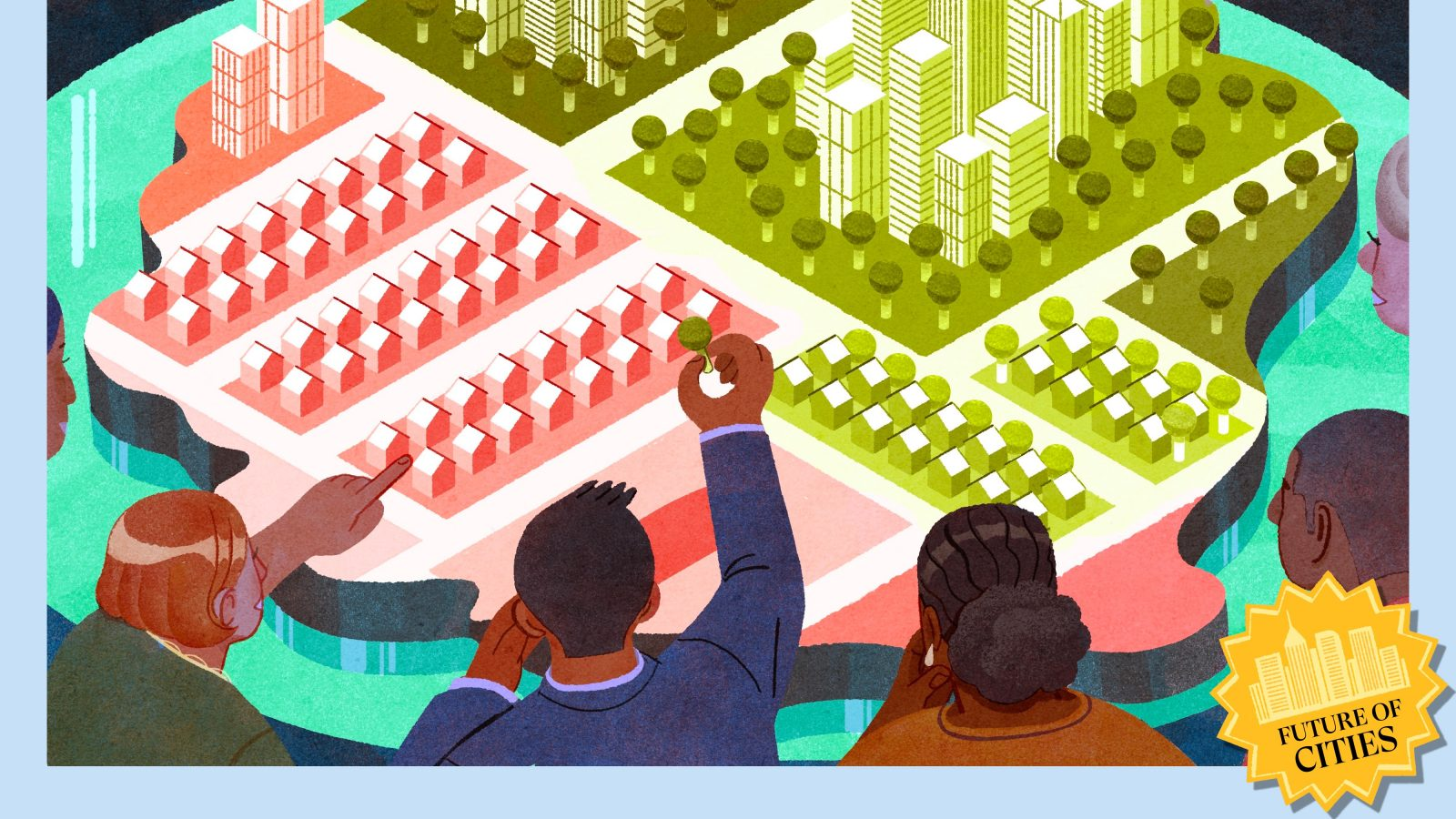 Illustration of community members gathered around an interactive city map