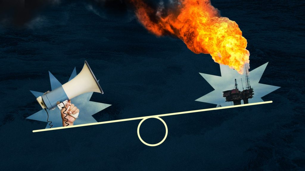 Bullhorn and oil tanker balancing on a scale