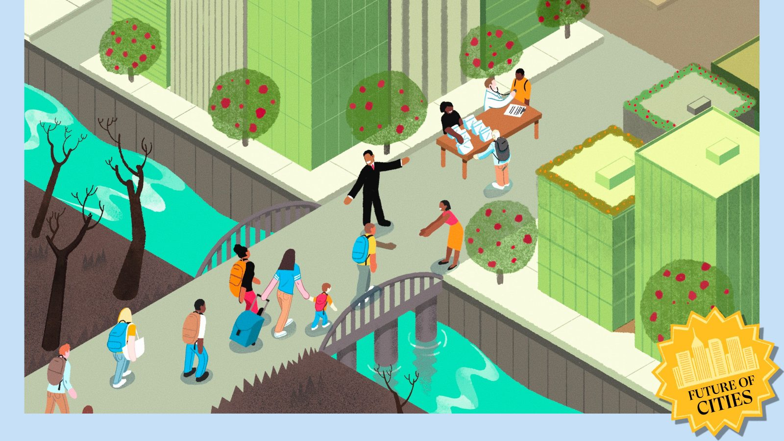 Illustration of a green city welcoming climate migrants