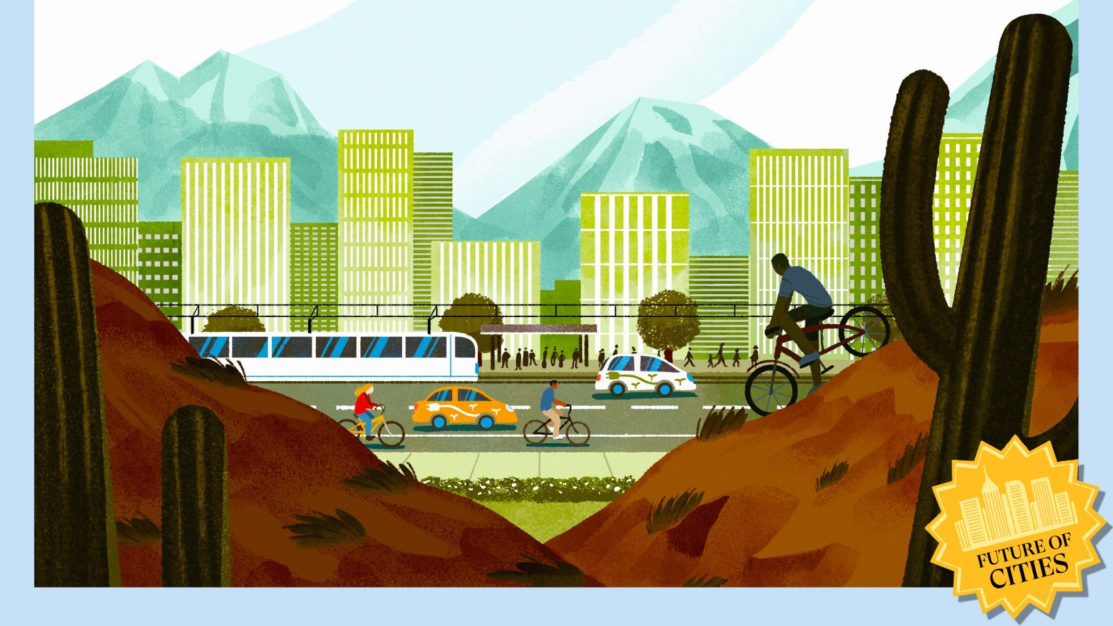 Illustration of a sustainable desert city, with EVs, vegetation, and bikes
