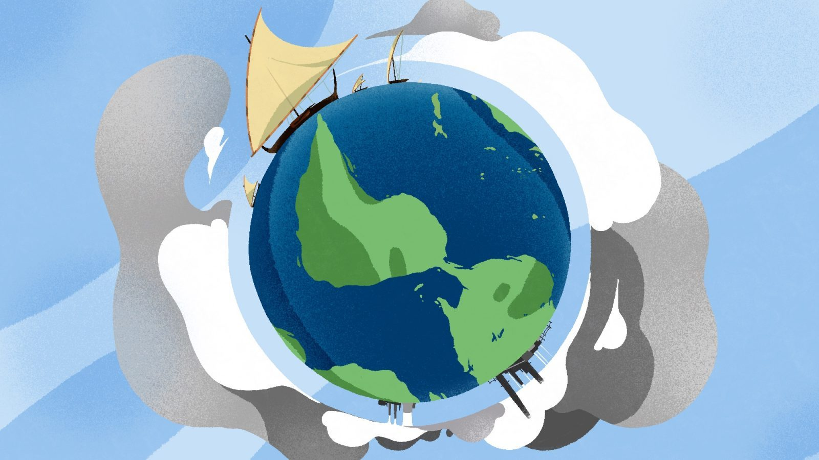 Illustration of a traditional Chamorro canoe sailing around a polluted earth.