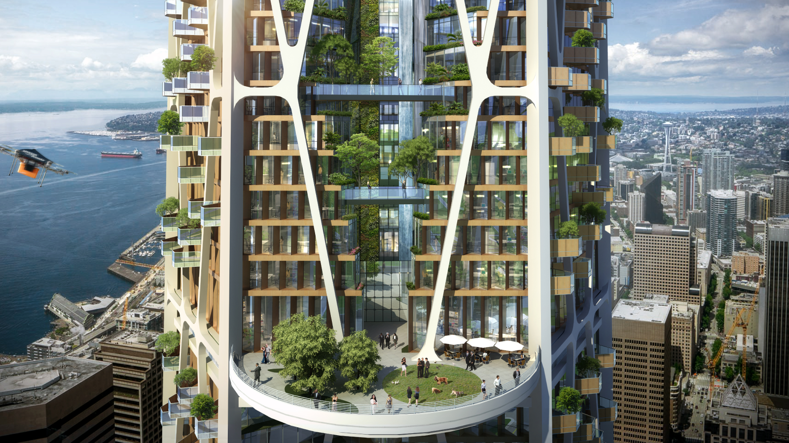 Rendering showing mass timber and vertical gardens