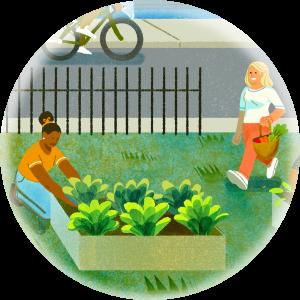 Illustration of a garden on a city block