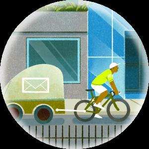 Illustration of a bike hauling cargo