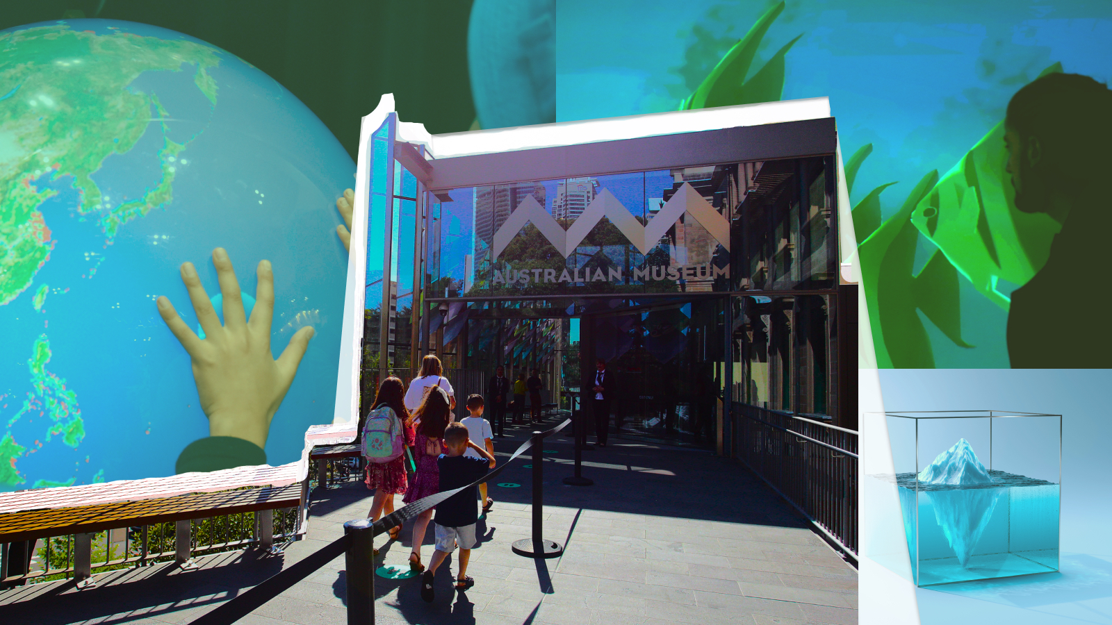Collage of climate-themed exhibits behind a photo of children entering a museum