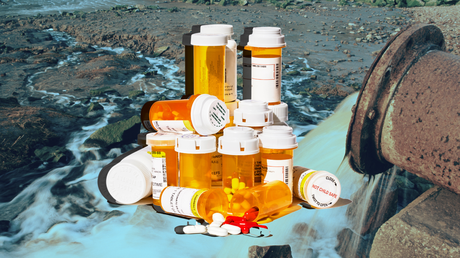 Image of pill bottles on top of a background showing contaminated water