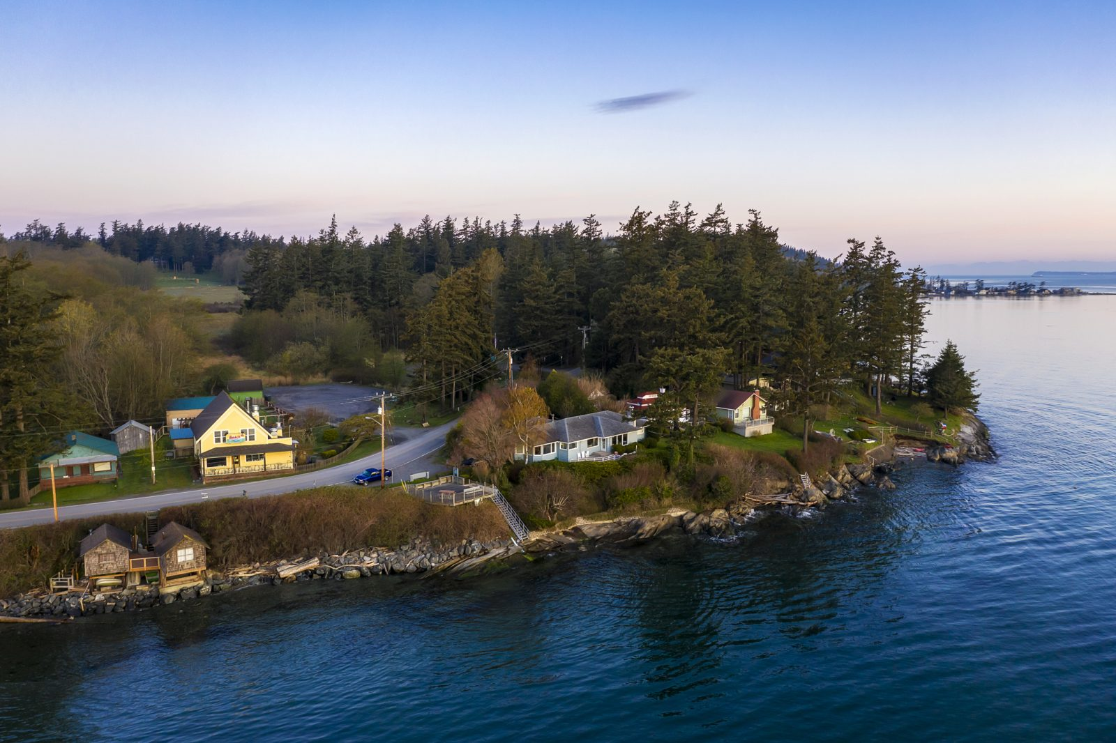 Aerial View of the West Side of Lummi Island During a Beautiful Sunrise.
