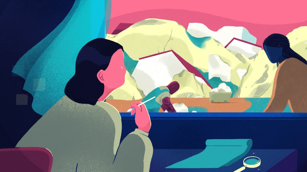 Illustration of a woman writing and looking out a window