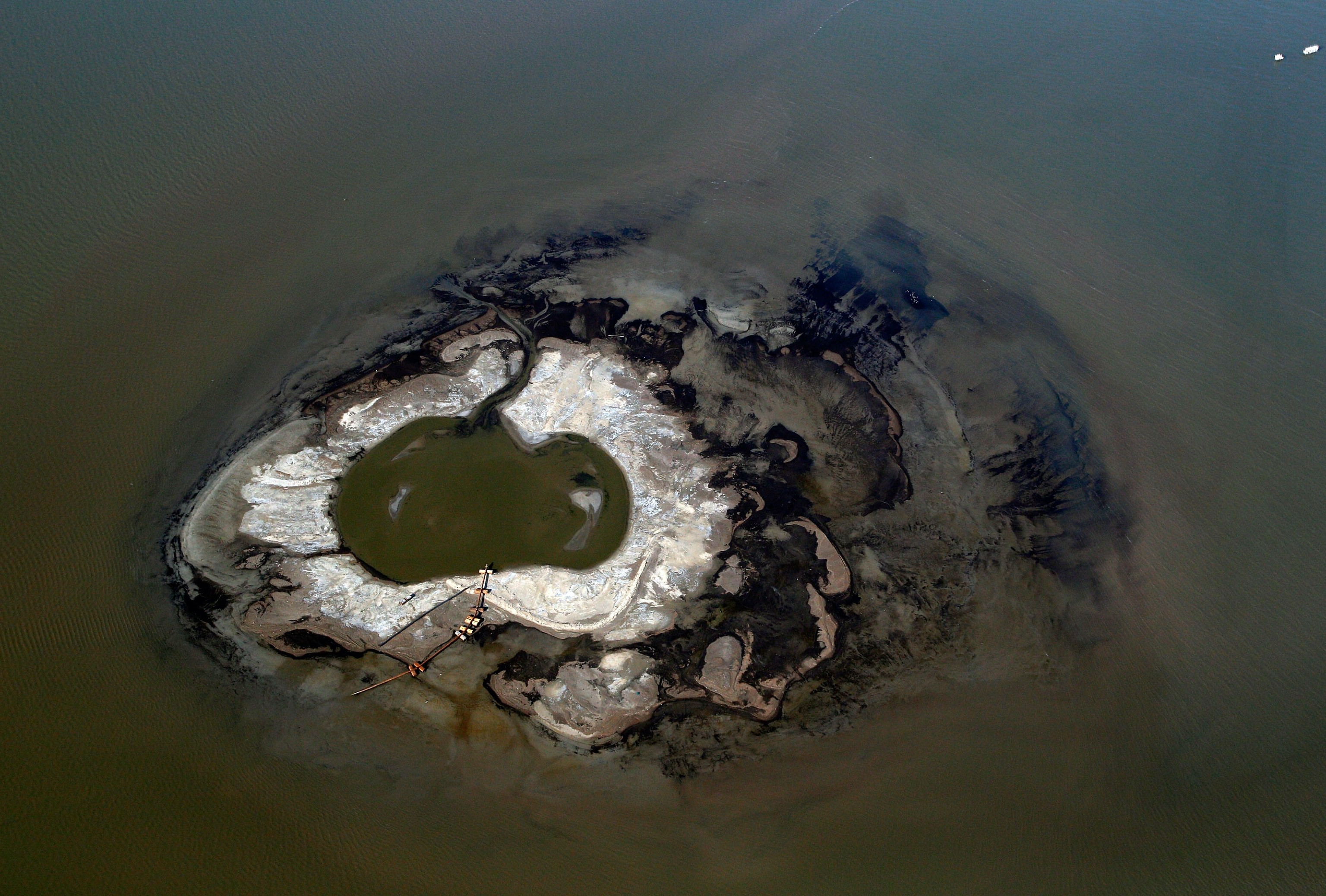 An aerial view of the Deepwater Horizon oil spill