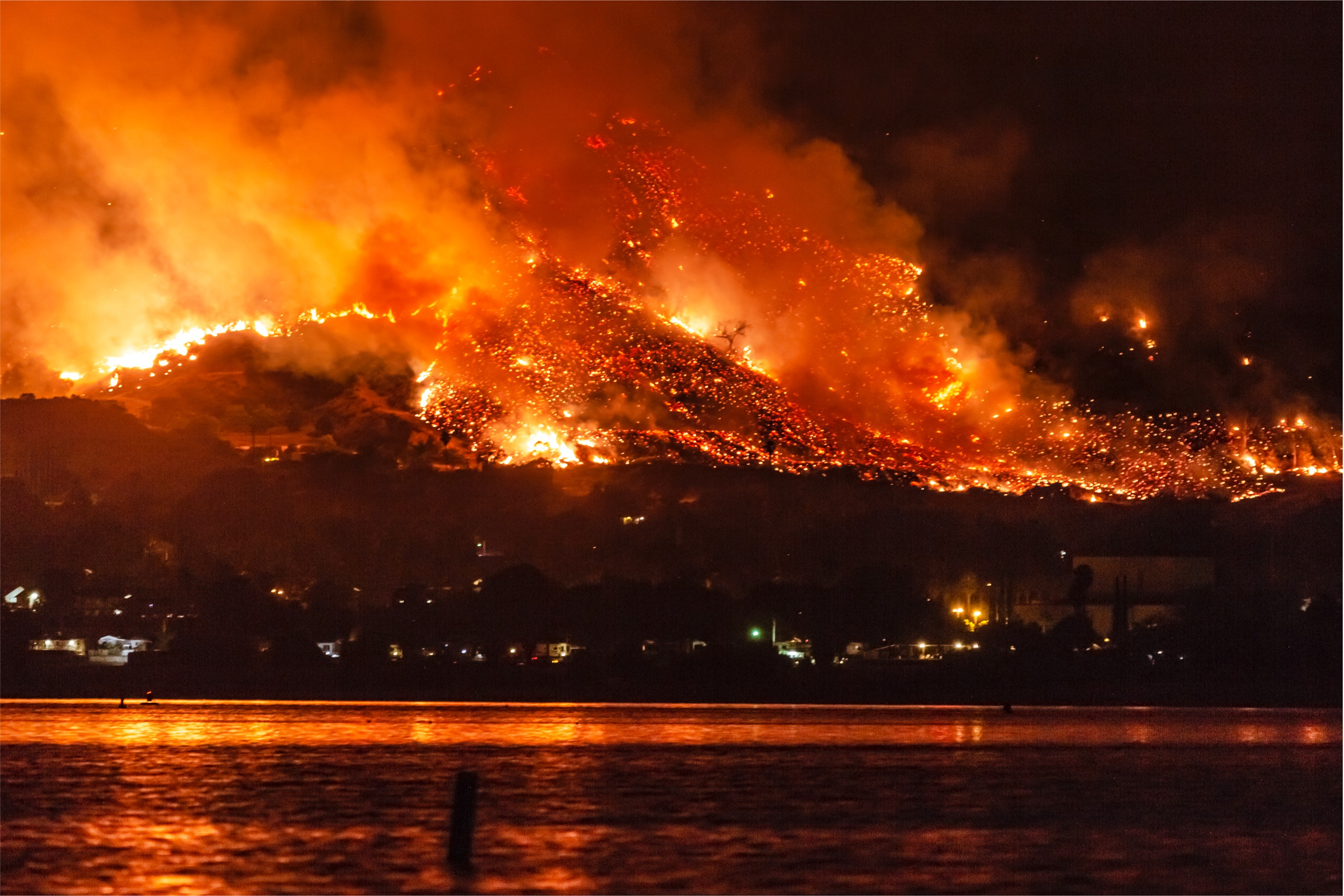 California Wildfires: The Holy Fire At Lake Elsinore On August 9, 2018.