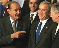 Chirac (left): sticking it to Bush?