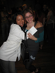 Grist Reader Party - Green LA Girl and friend