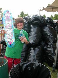 Kid with skatedeck