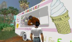 orangutan selling ice cream