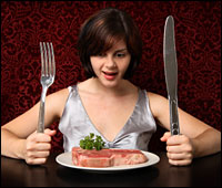 woman with steak