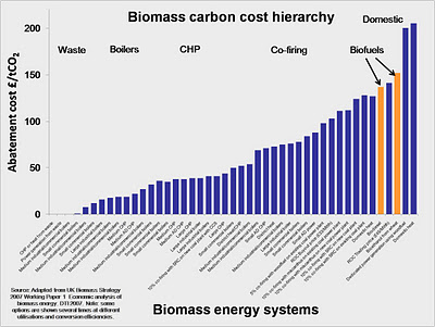 Biomass carbon cost hierarchy
