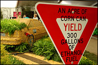 An acre of corn can yeild 300 gallons or ethanol