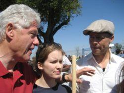 Bill Clinton and Brad Pitt with students at CGIU
