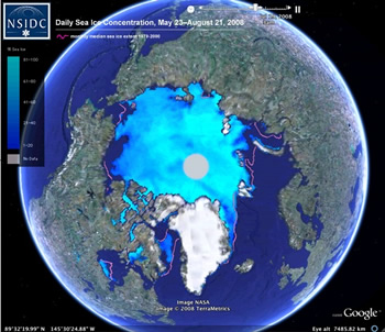Still shot of single frame of animation showing sea ice in Arctic from satellite