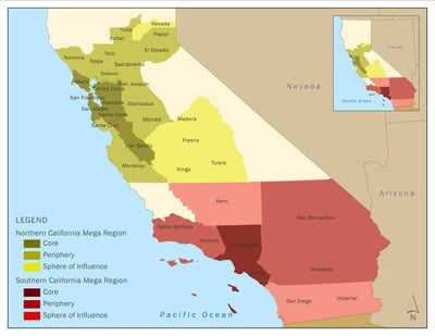 In the America 2050 plan, there are two California Megaregions with the Northern shown in Green