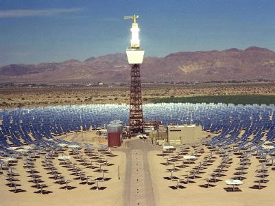 The Solar Two demonstration power plant, built by the US Department of Energy, generated power for seven days and night continuously using only solar power and thermal energy storage.