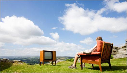 Watching TV outside