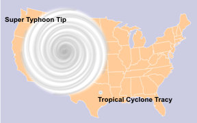Relative sizes of Typhoon Tip and Tropical Cyclone Tracy