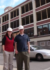 Todd and Sarah in hard hats