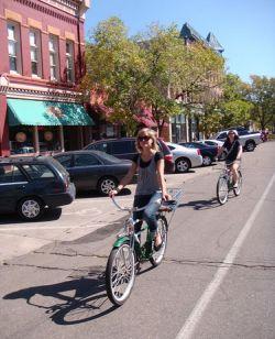 Katie and Sarah on bikes