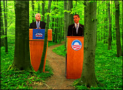 McCain & Obama in woods