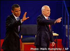 Barack Obama and John McCain. Photo: Mark Humphrey / AP